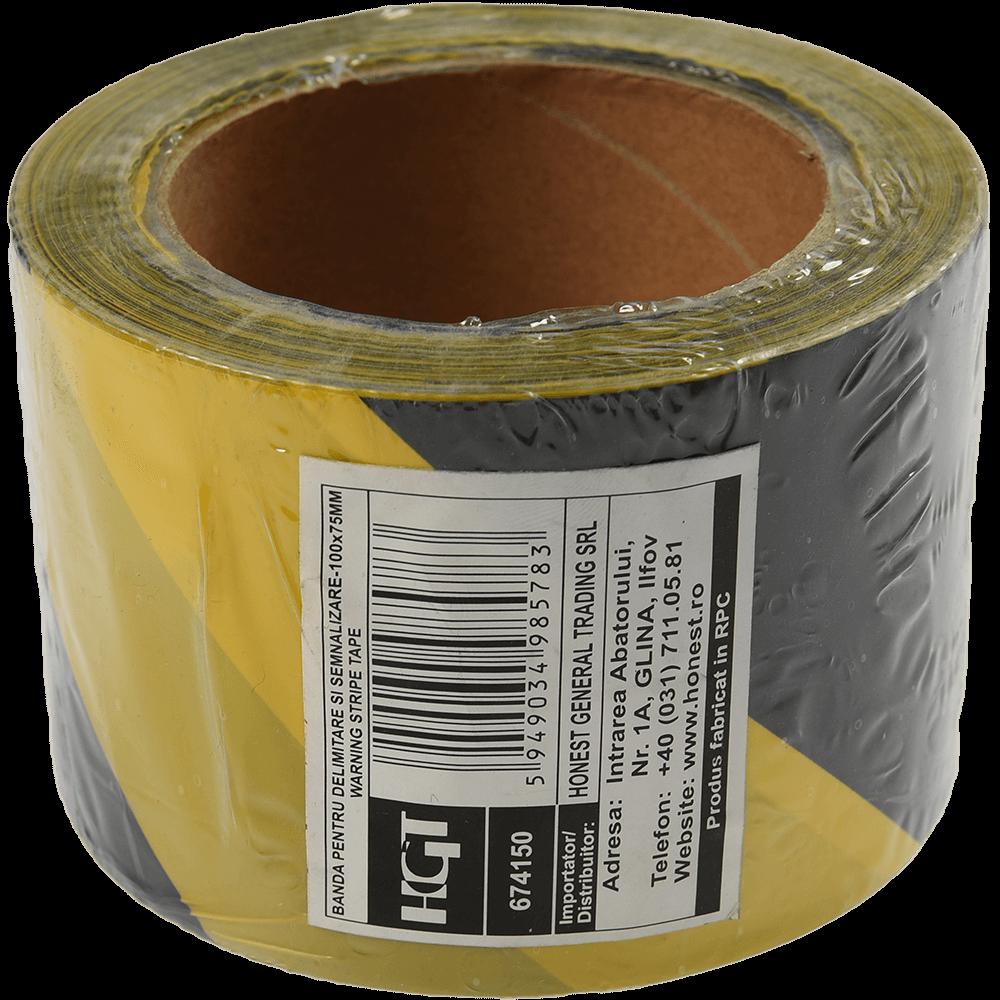 Banda delimitare si semnalizare, 75 mm x 100 m, galben + negru mathaus 2021