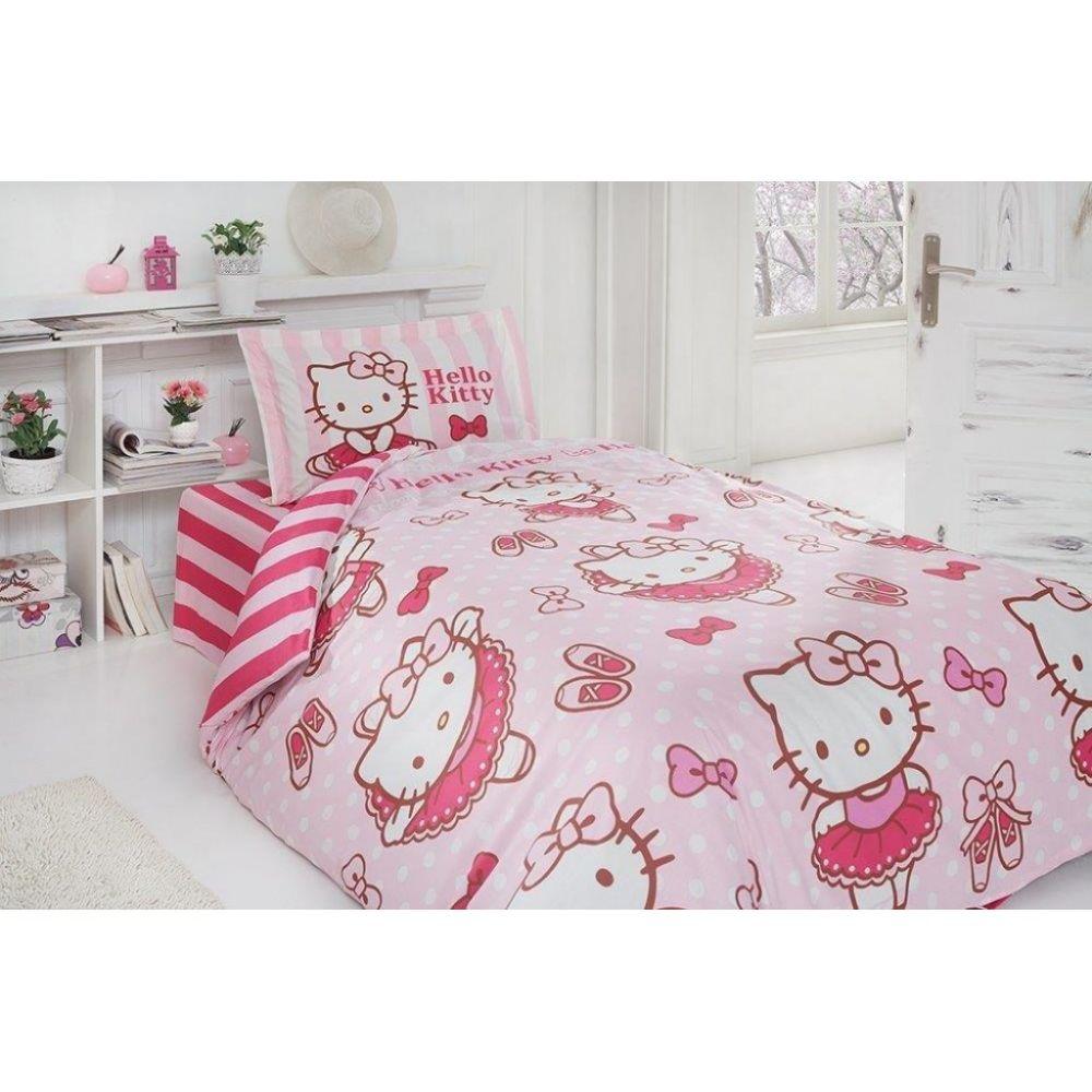 Lenjerie de pat pentru copii Hello Kitty Ballerina, 1 persoana, bumbac 100%, 3 piese, roz