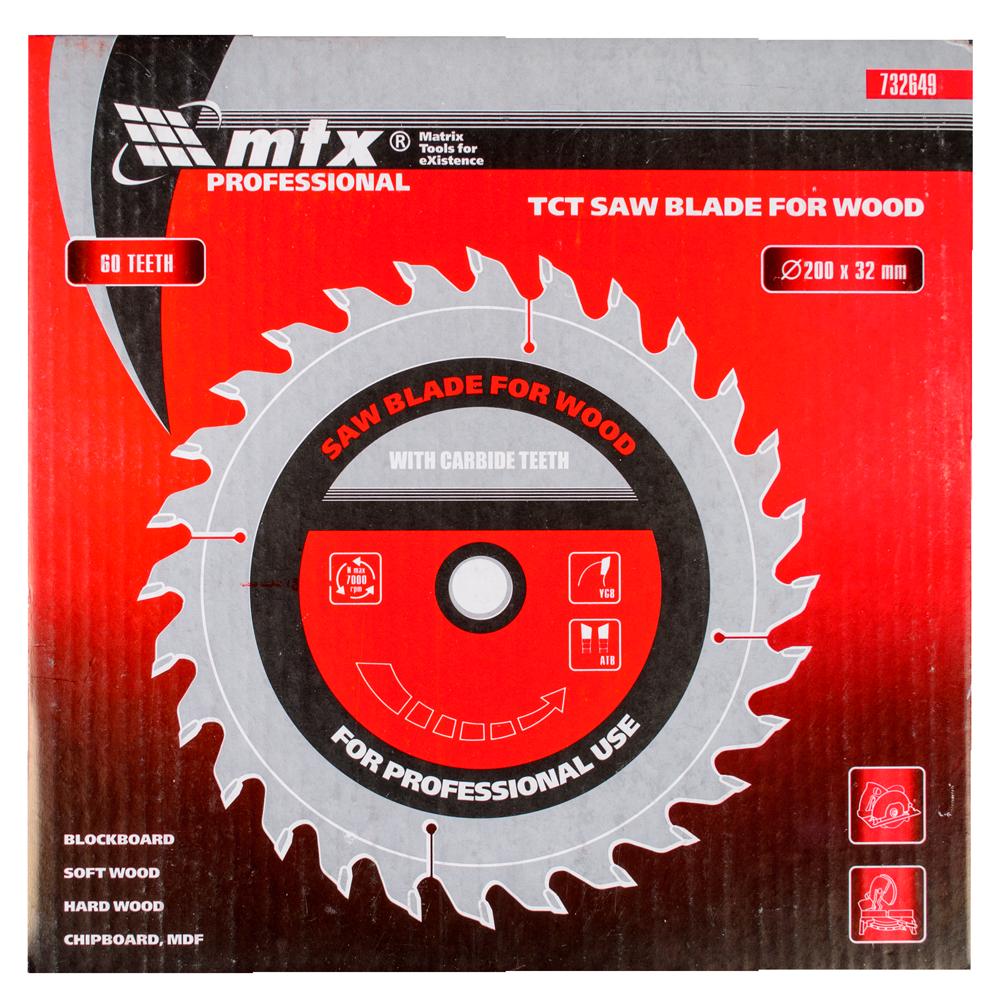 Disc debitare lemn, MTX, 200 х 32 mm, 60 dinti, bucsa 30/32 imagine 2021 mathaus