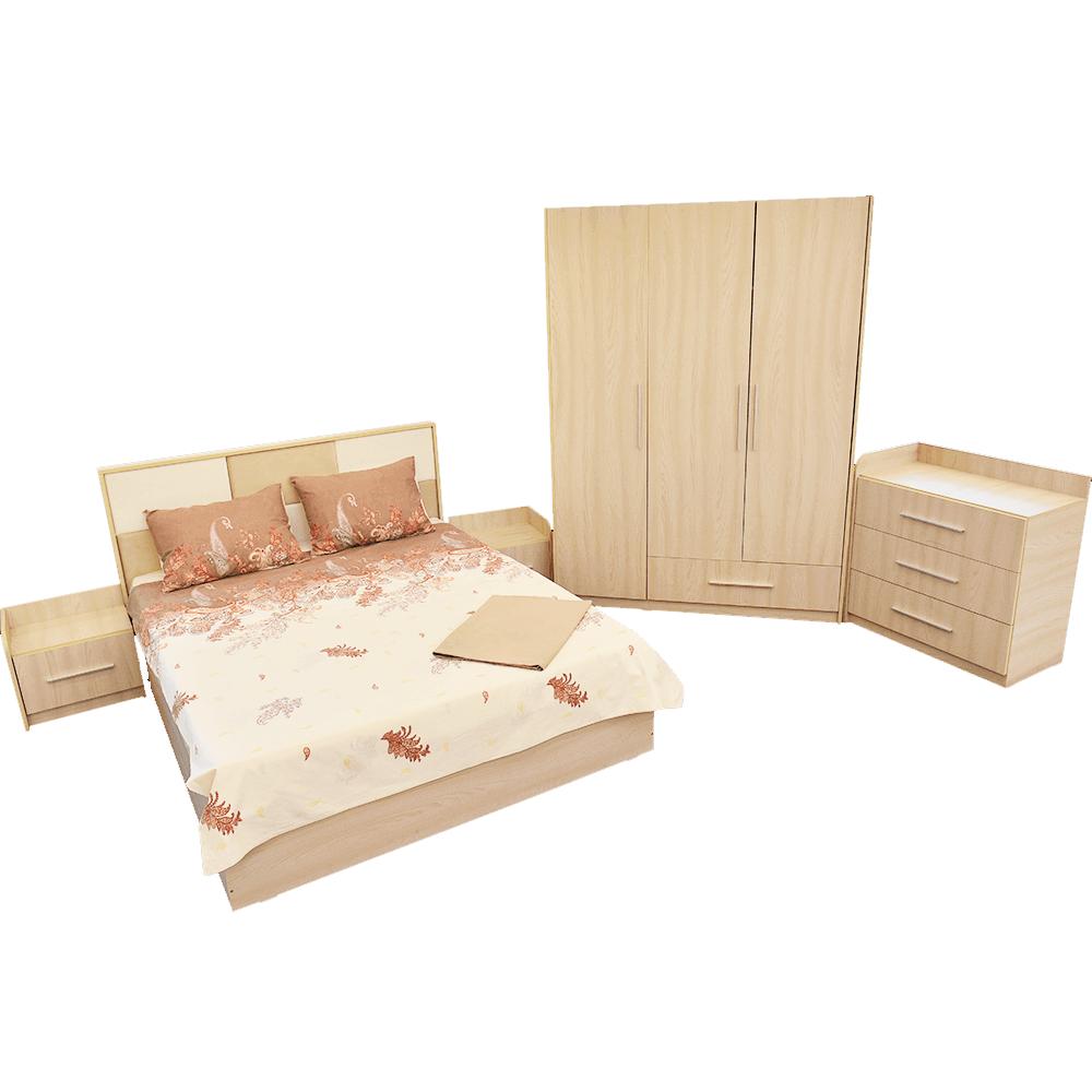 Dormitor modern Andrei, pat cu noptiere, dulap dressing 3 usi, comoda cu 3 sertare, sonoma imagine 2021 mathaus