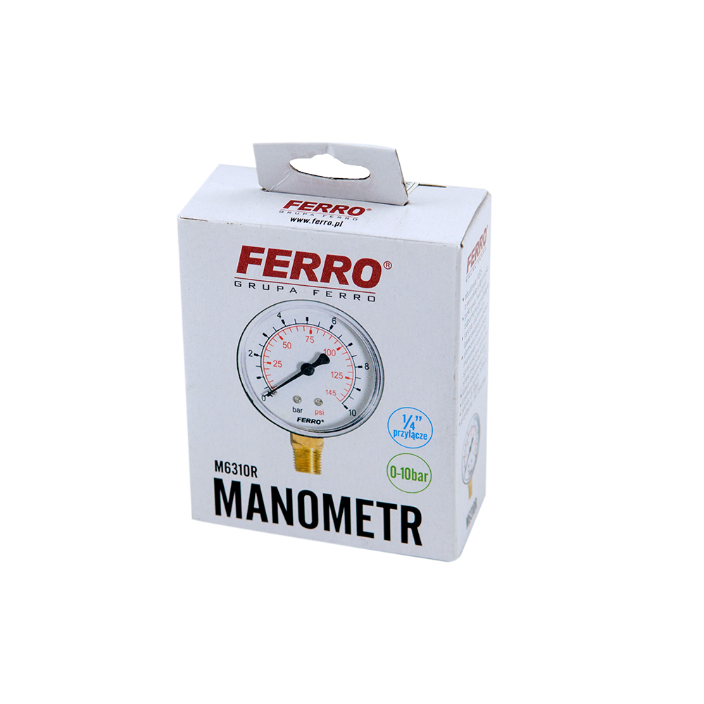 Manometru radial Ferro M6310R, 63 mm, 1/4, 0-10 bar imagine 2021 mathaus