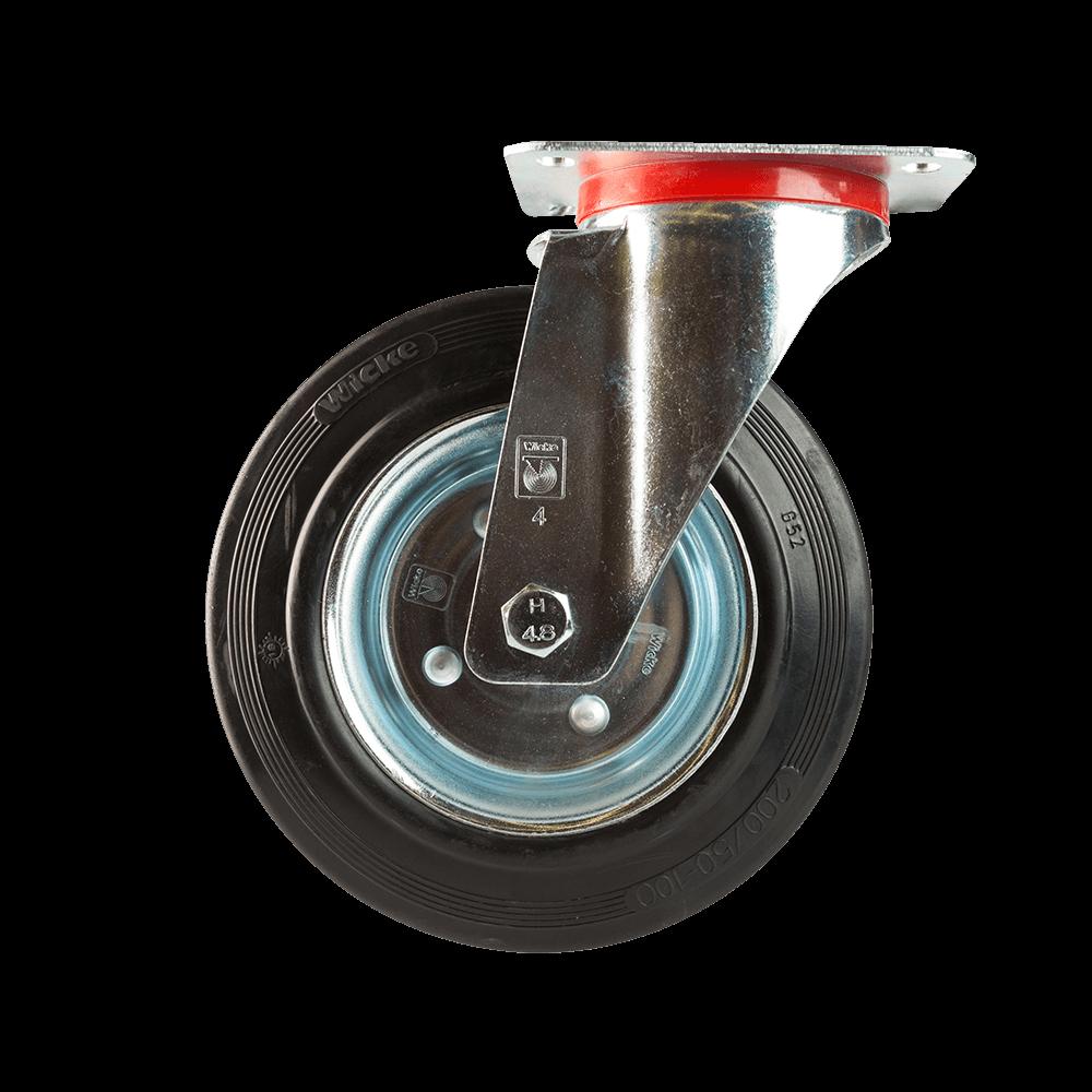 Rola pivotanta cu placa, cauciuc plin negru, 200 x 50 mm, 205 kg mathaus 2021