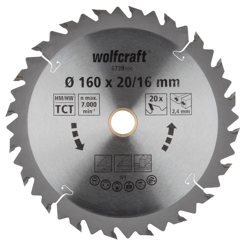 Panza pentru fierastrau circular Wolfcraft, 20 de dinti, diametrul 160 mm imagine MatHaus.ro