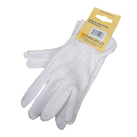 Manusi de protectie Dalgeco basic 1060, bumbac + PVC, marimea 8, alb