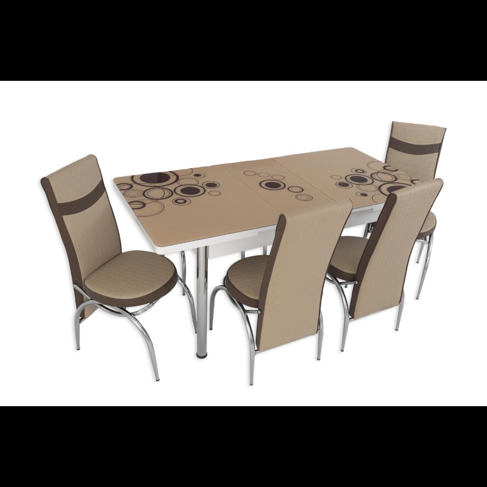 Set masa extensibila cu 4 scaune, MDF, blat sticla securizata, maro + crem imagine 2021 mathaus