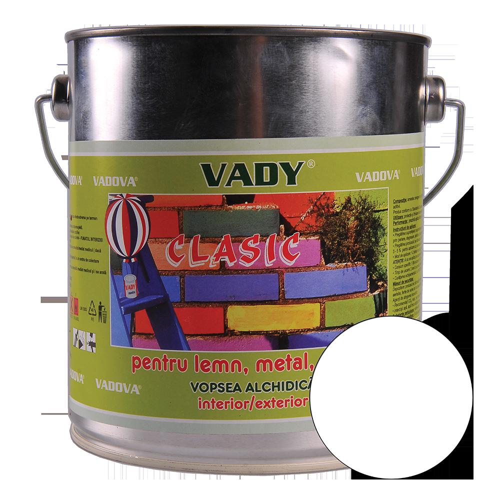 Vopsea alchidica Vady clasic, pentru lemn/metal/zidarie, interior/exterior, alb, 2,5 l imagine 2021 mathaus