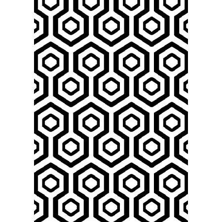 Covor modern Platin 3087_82N67, polipropilena heat set, model geometric alb, negru, 80 x 150 cm