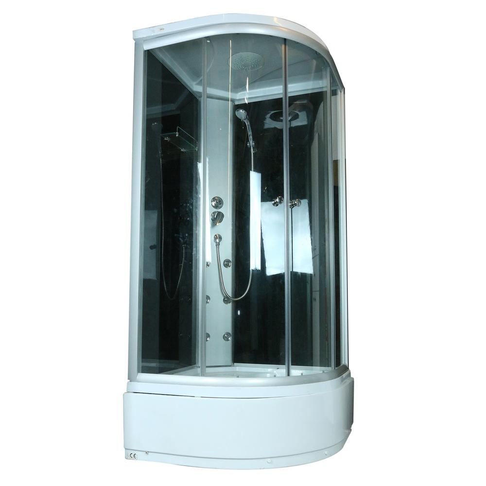 Cabina dus hidromasaj Sanotehnik, material profil aluminiu, 4mm, cadita semirotunda, 90 x 90 x 210 cm imagine MatHaus