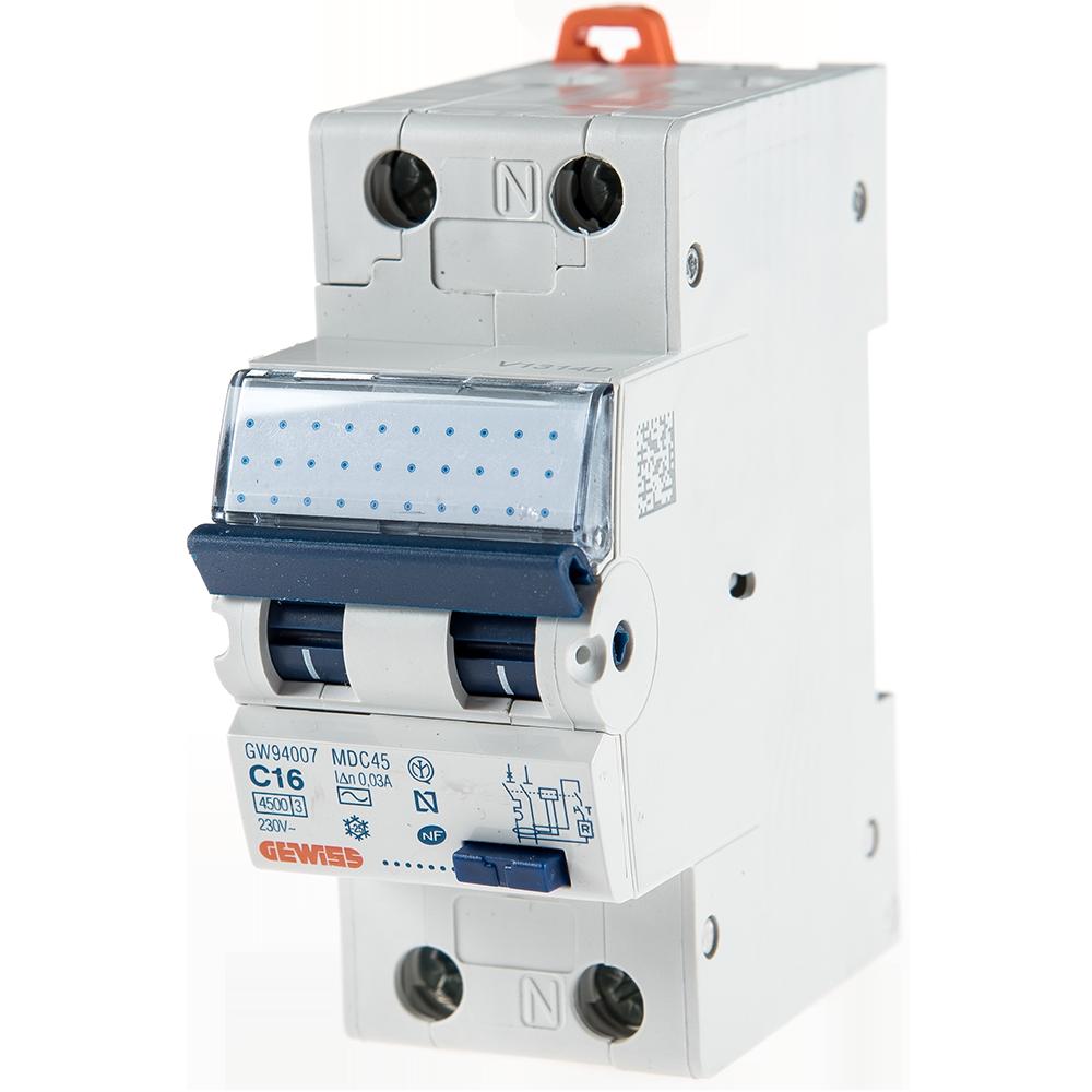Intrerupator automat diferential GW94007 1P+N 16A 30mA Gewiss mathaus 2021