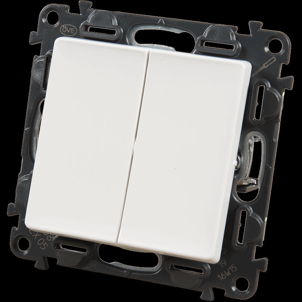 Intrerupator dublu Legrand 752105, 250 V, 10 A, alb