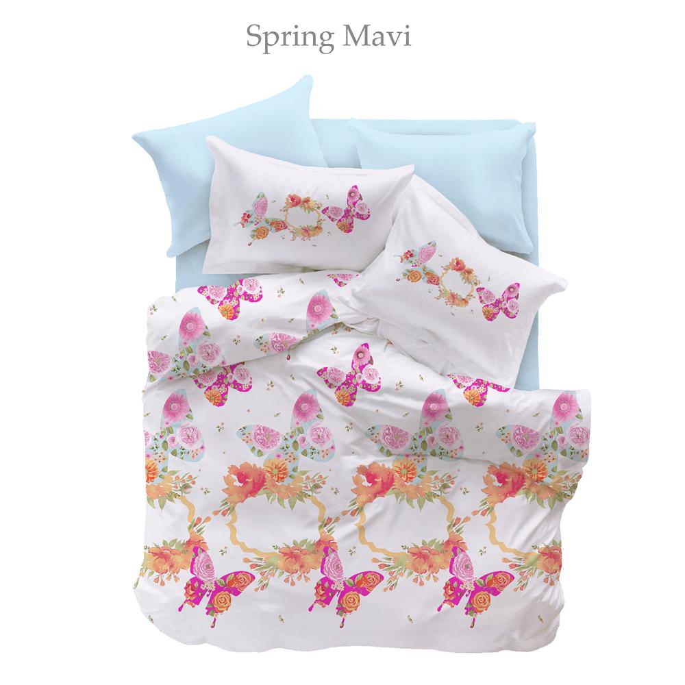 Lenjerie de pat Spring Mavi Pike Miss Mina, 2 persoane, bumbac, 4 piese, motive florale