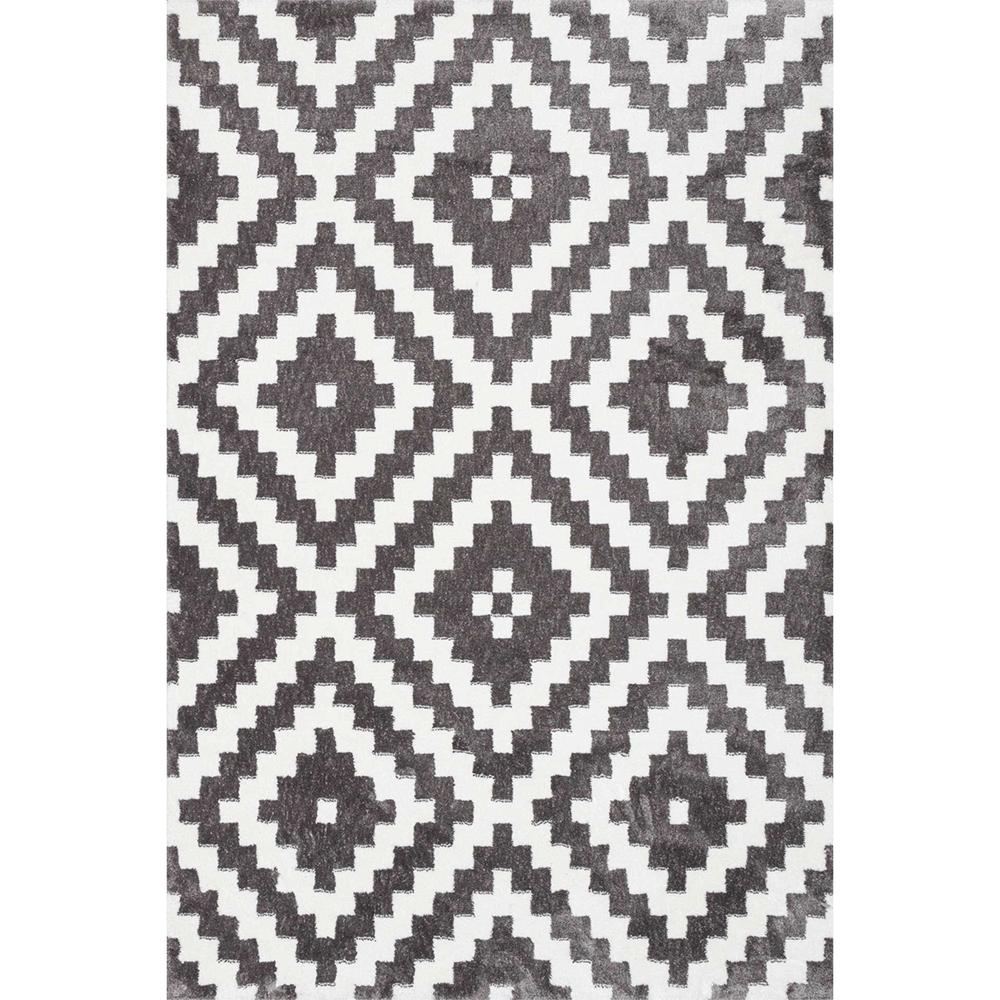 Covor modern Sintelon Creative 06 GWG, poliester, model cu romburi, alb, gri, 160 x 230 cm