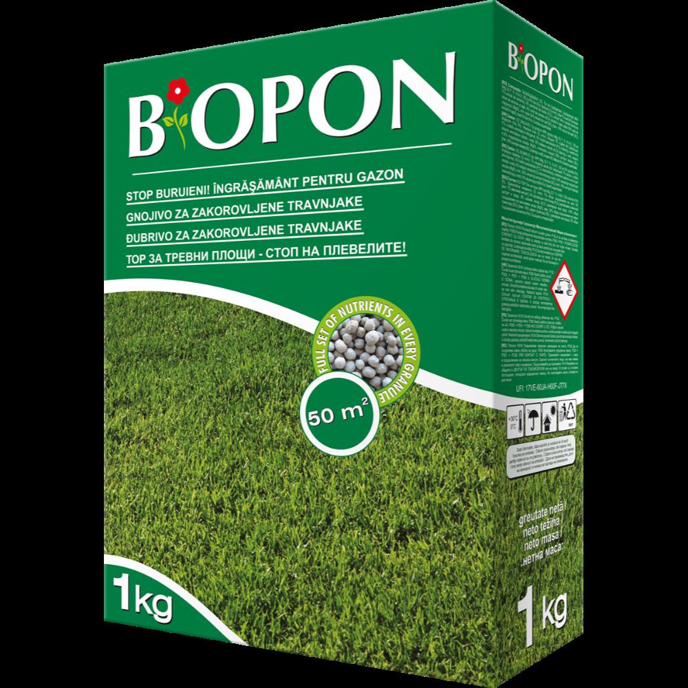 Ingrasamant Biopon pentru gazon cu buruieni control, 1 kg