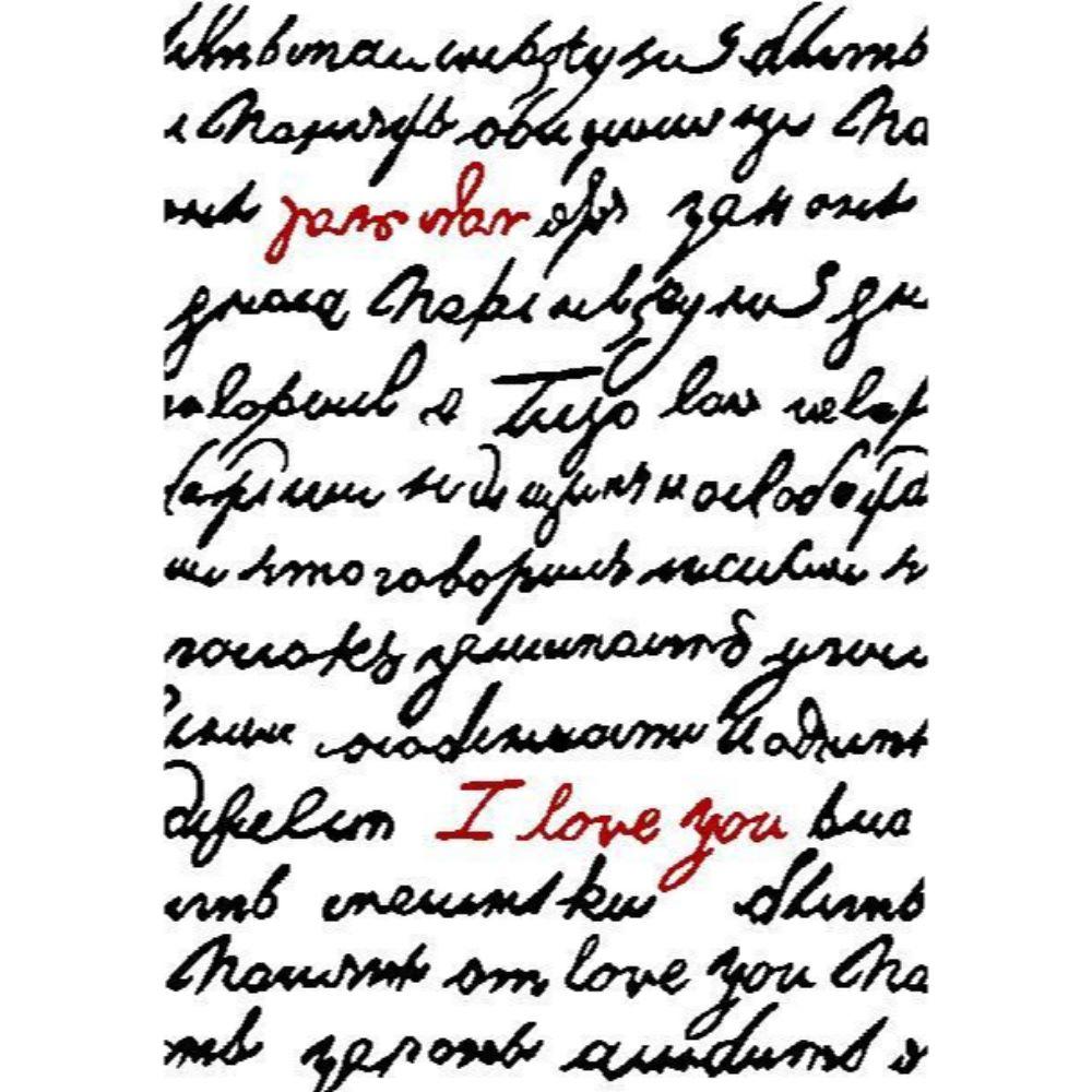 Covor modern Platin Love 4074, polipropilena, model litere alb, negru, rosu, 80 x 150 cm imagine MatHaus