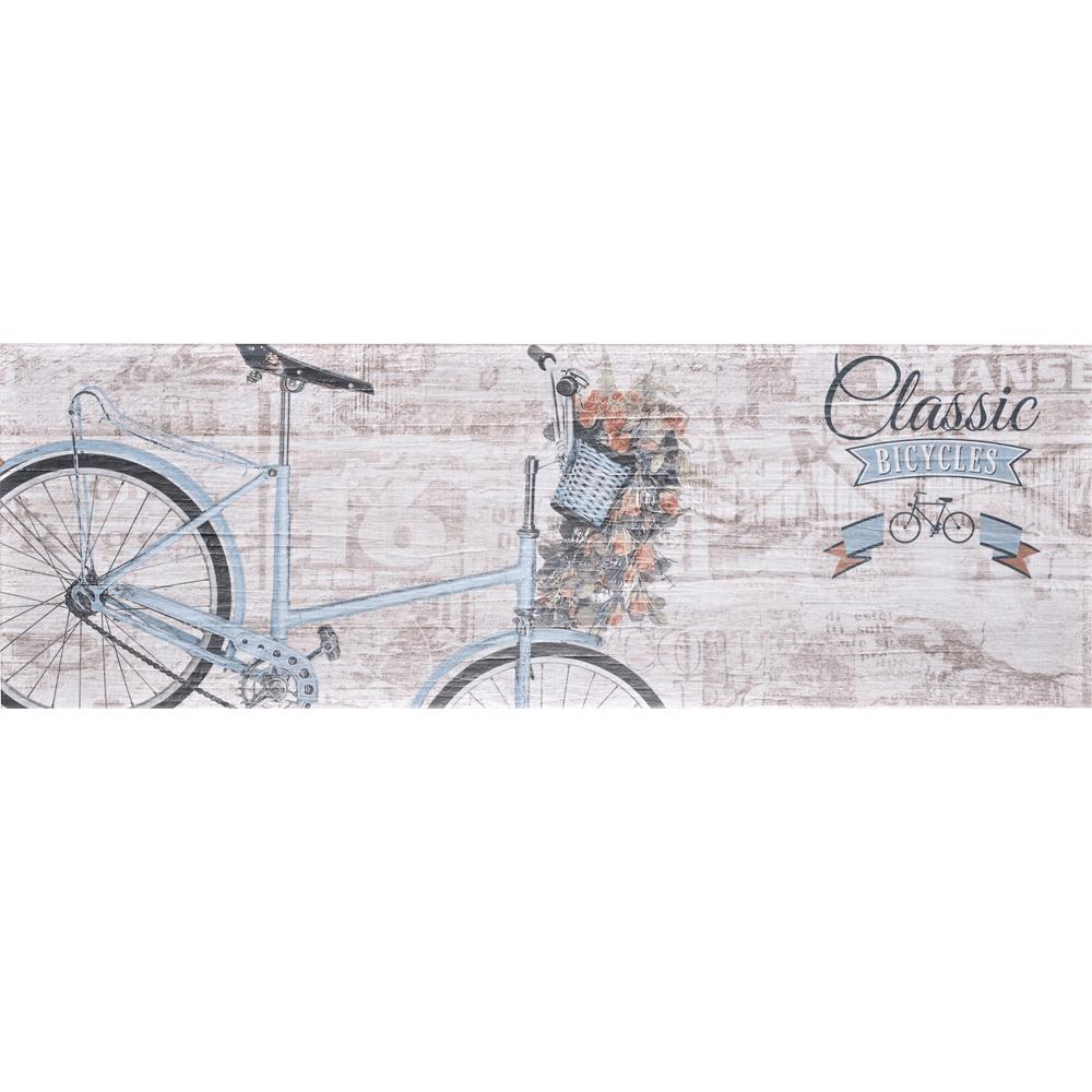 Faianta decor Art Ceramic, Soft Wood D-B309013, bej, finisaj estetic, model vintage cu bicicleta, 30 x 90 cm