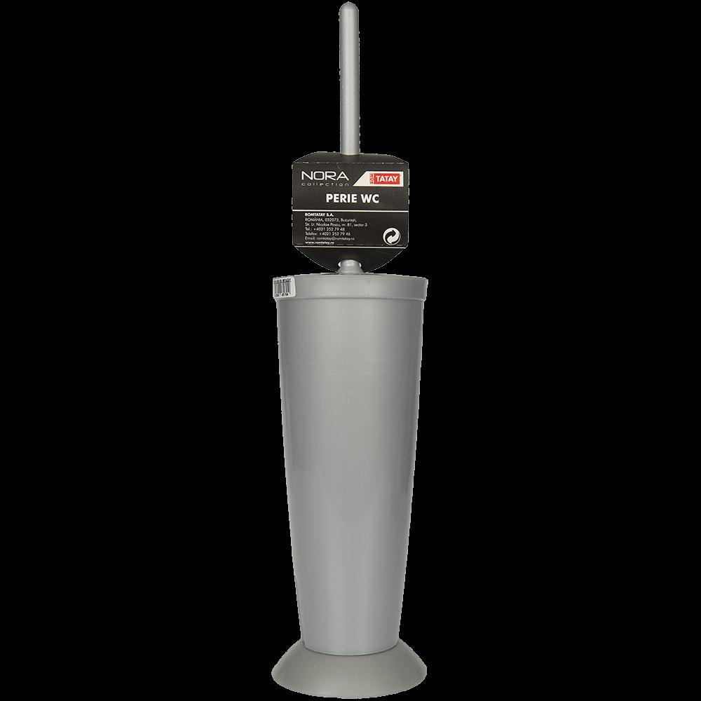 Perie si suport cu capac WC Nora, plastic, gri metalizat, 10 x 42 cm imagine 2021 mathaus