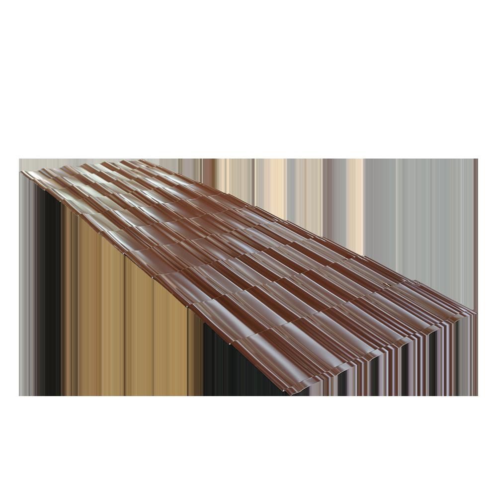 Tigla metalica Durako Riva, maro, RAL 8017, lucios, grosime 0,45 mm, 2,145 x 1,180 m mathaus 2021