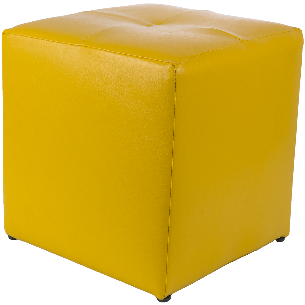 Taburet Cool tapiterie imitatie de piele, galben IP22168, 38 cm inaltime
