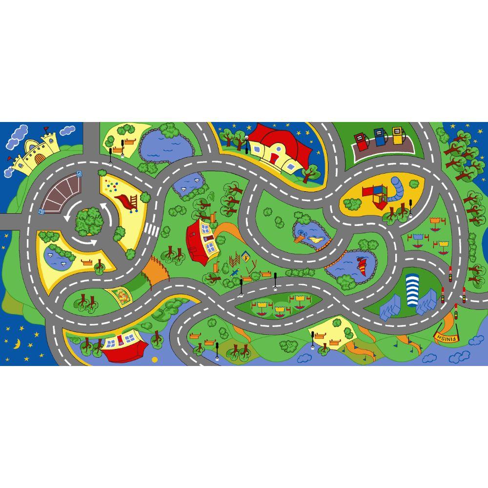 Covor copii Play Diamond 9, model cu drumuri, poliester cu suport antiderapant, 70 x 140 cm imagine MatHaus.ro