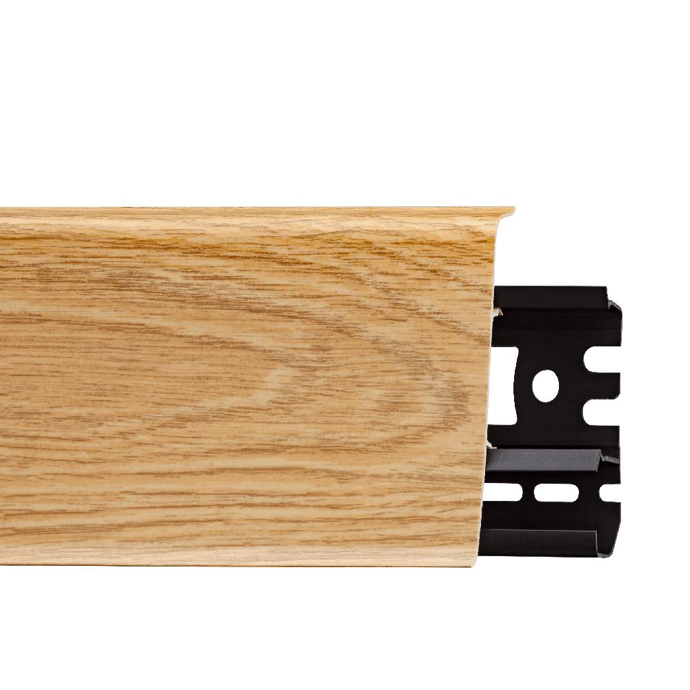 Plinta parchet, cu canal cablu, PVC, stejar manorial INDO 70, 2500 mm imagine MatHaus
