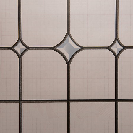 Folie autocolanta vitraliu 11-2290 din PVC, model geometric, transparent-bleu, 45 cm x 15 m