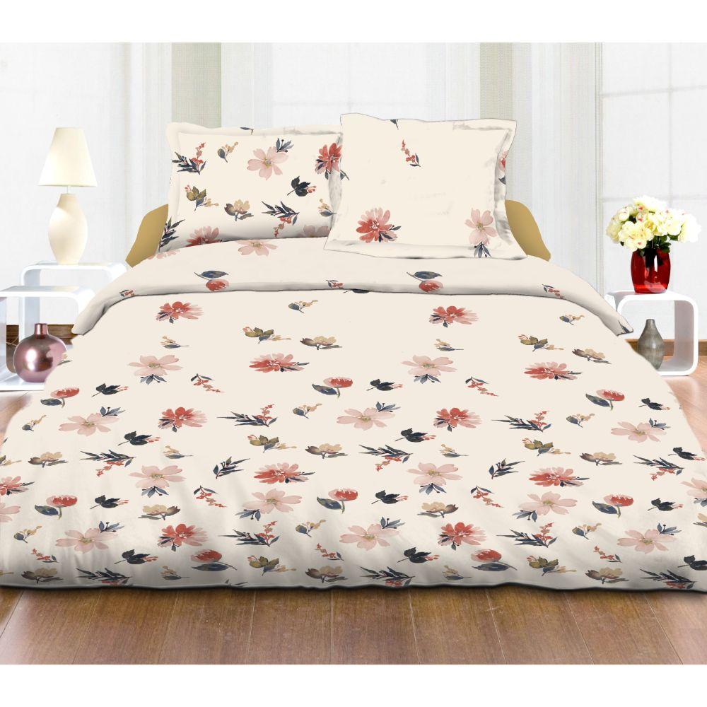 Lenjerie de pat Home Berry Ana, 2 persoane, bumbac 100%, 4 piese, alb + verde + roz