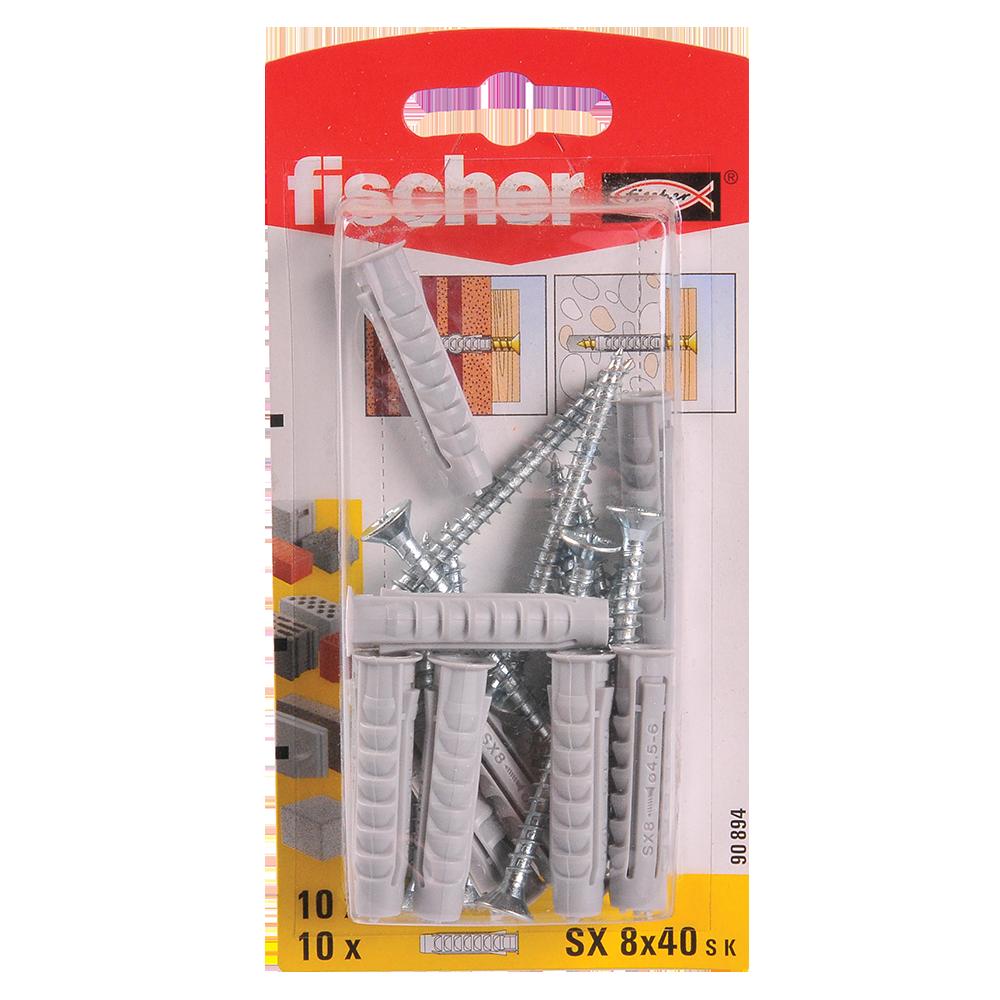 Diblu din nailon cu surub, Fischer SX, 8 x 40 mm, 5 x 55 mm, 10 buc imagine MatHaus