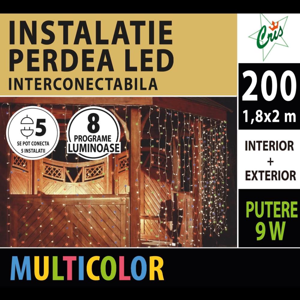 Instalatie decorativa Craciun tip perdea, Cris, 200 LED-uri multicolor, 1.8 x 2 m, interior / exterior, alimentare la retea imagine MatHaus