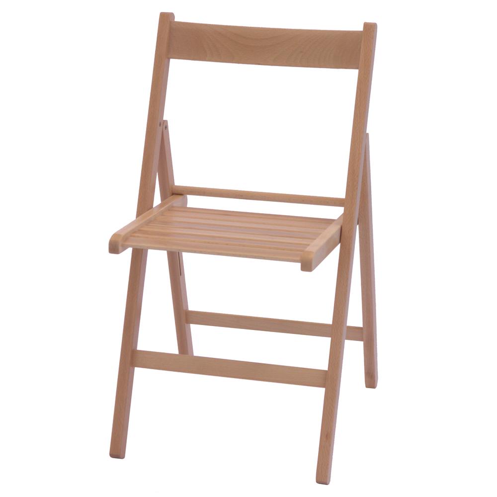 Scaun pliant Basic din lemn de fag, culoarea fag, sezut de lemn, 78x43cm mathaus 2021