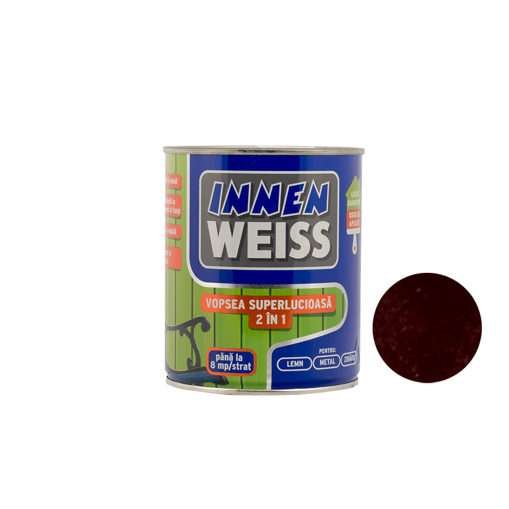 Vopsea superlucioasa Innenweiss 2 in 1, interior si exterior, grena, 0,6 L