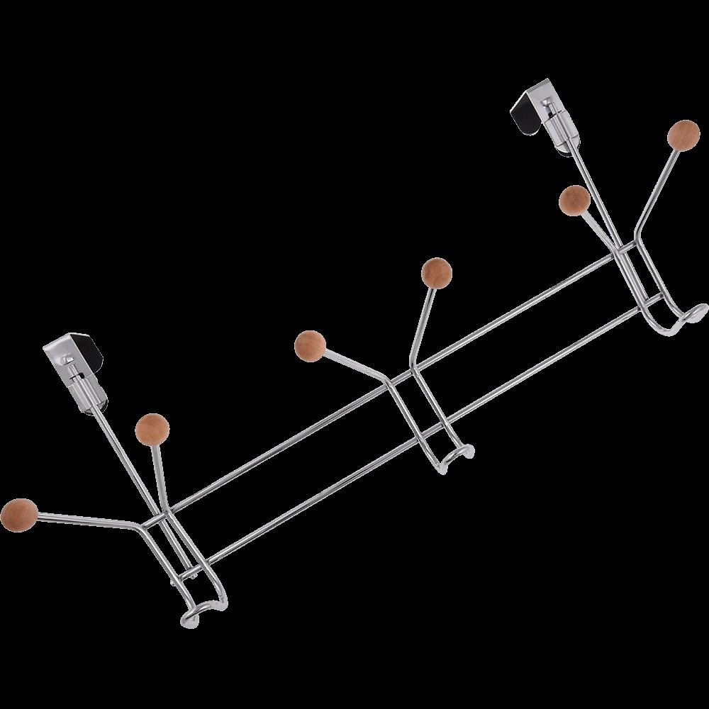 Cuier metalic cu 6 capete de lemn, 49 x 11 x 20,5 cm mathaus 2021
