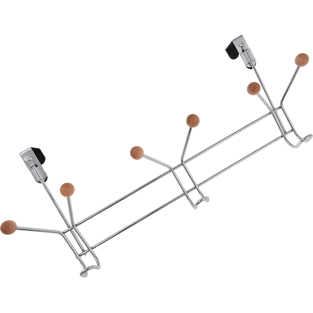 Cuier metalic cu 6 capete de lemn, 49 x 11 x 20,5 cm