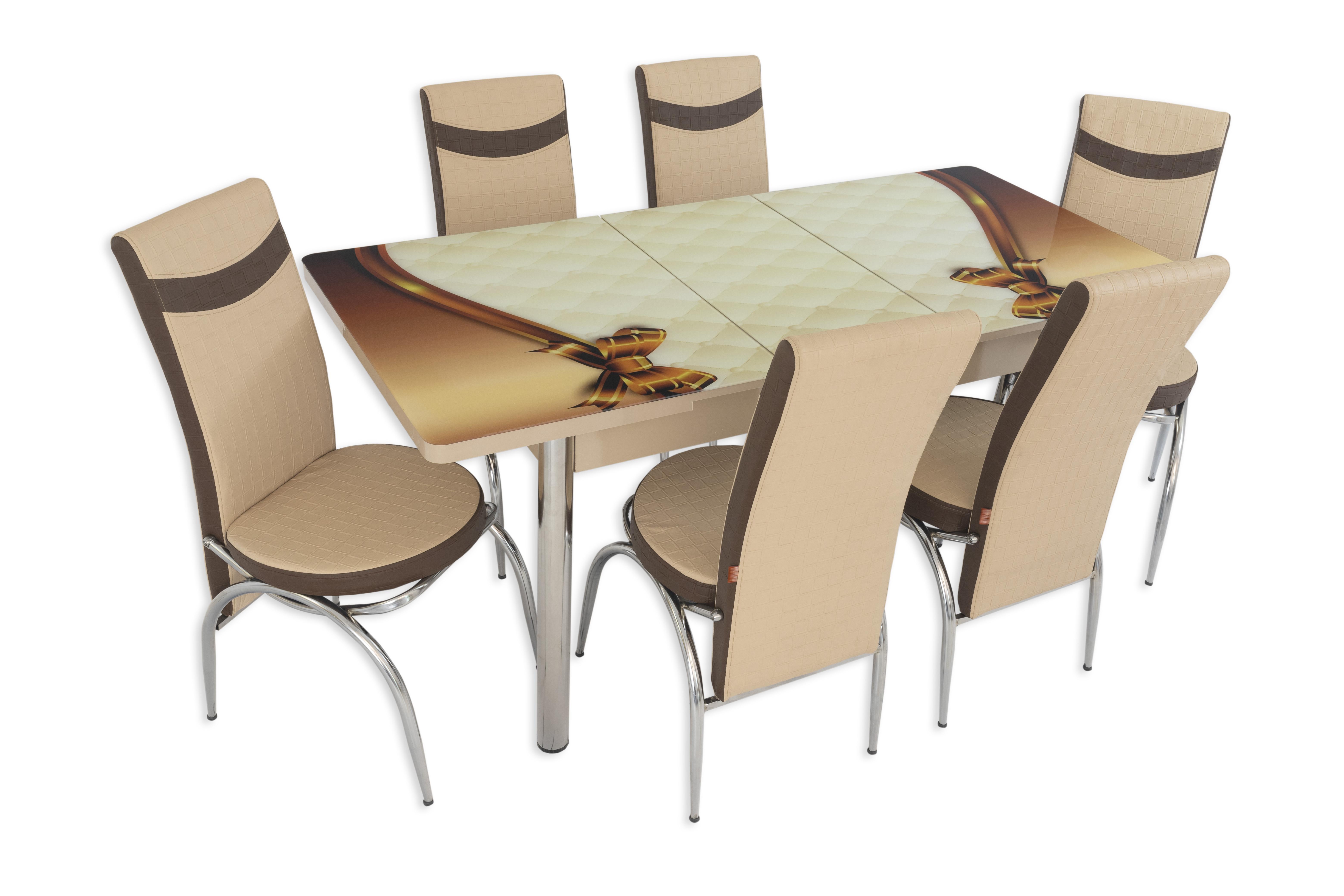 Set masa extensibila cu 6 scaune ARTA Table Queen, PAL melaminat + piele ecologica, crem +maro, 169 x 80 cm imagine 2021 mathaus