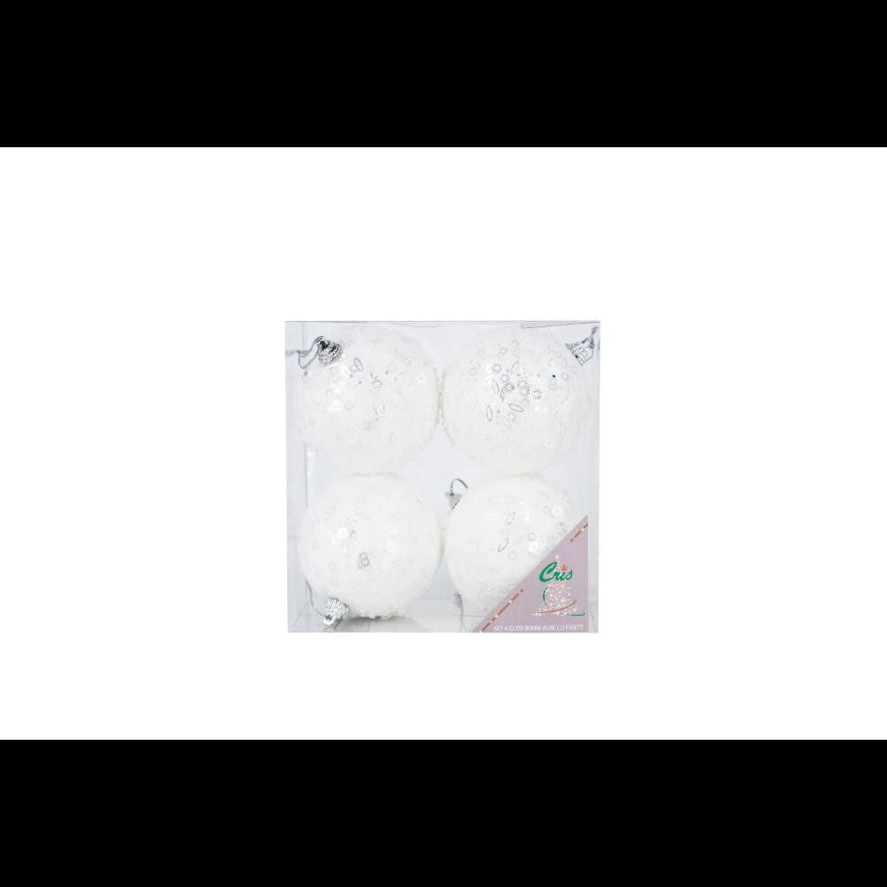 Set 4 globuri decorative de Craciun Cris, polistiren, 8 cm