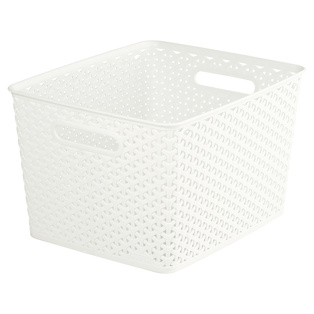Cutie depozitare, tip rattan, alb, 18 l, 335 x 295 x 220 mm imagine MatHaus.ro