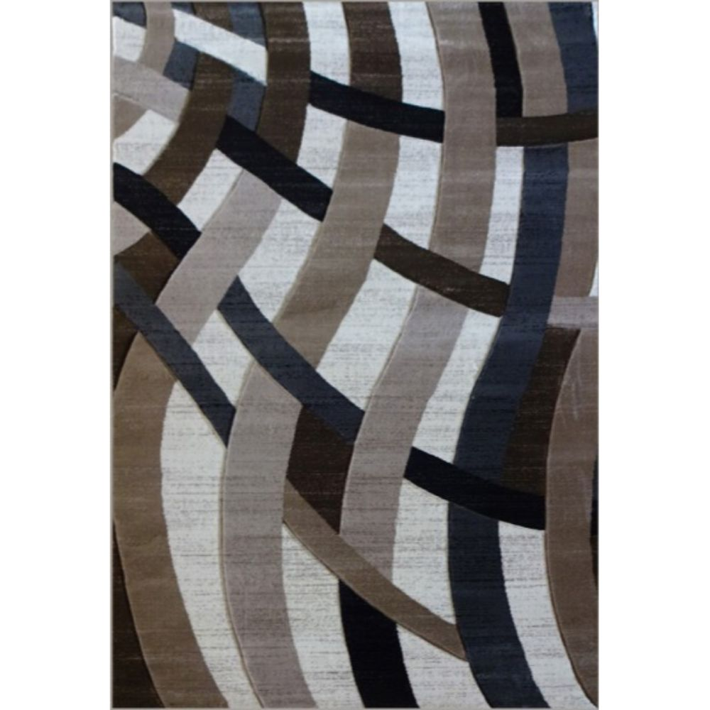 Covor modern Geo Hand Carved 7168, polipropilena heat set, model abstract bej/maro, 80 x 150 cm