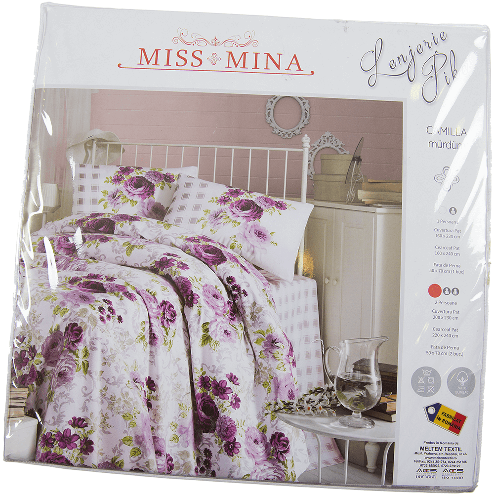 Lenjerie de pat pentru 1 persoana, 4 piese, multicolor