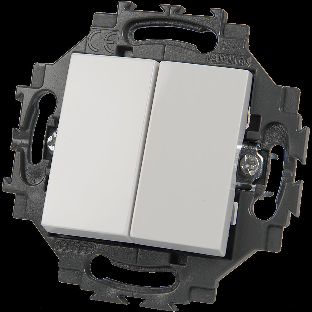 Intrerupator dublu Gewiss GW35051W Dahlia, 1P-10AX, alb imagine MatHaus.ro