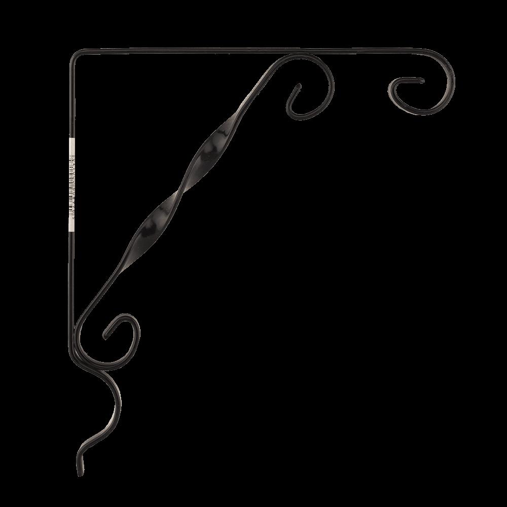 Suport cu agatatoare, 1 ghiveci, fier forjat, negru