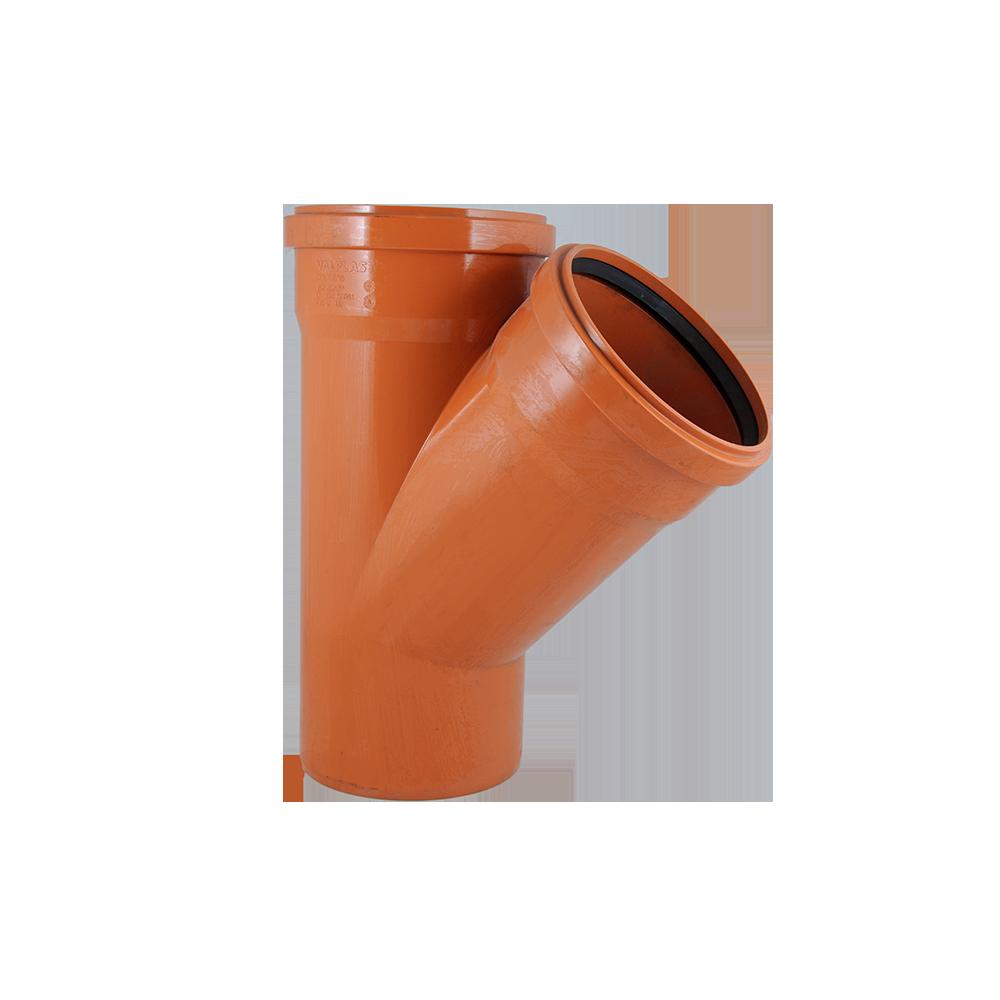 Ramificatie pentru canalizare exterioara Valplast, PVC, 160 x 160 mm, 45 grade