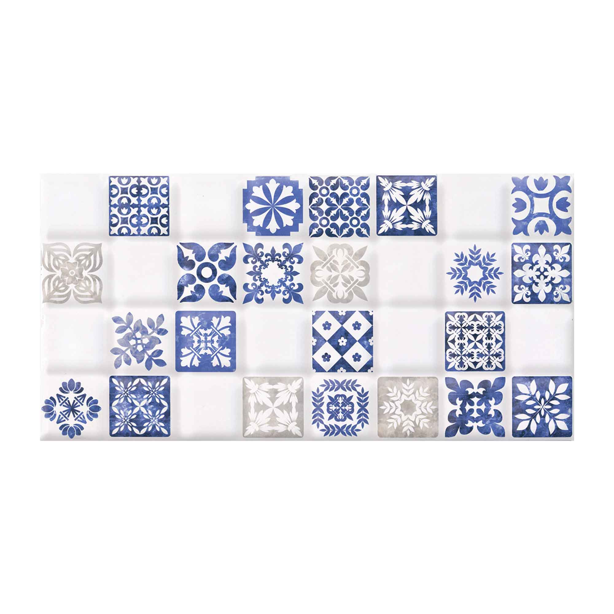 Faianta decorativa Cesarom Maiolica D alb lucios, model cu patratele in relief, dreptunghiulara, 20,2 x 40,2 cm mathaus 2021