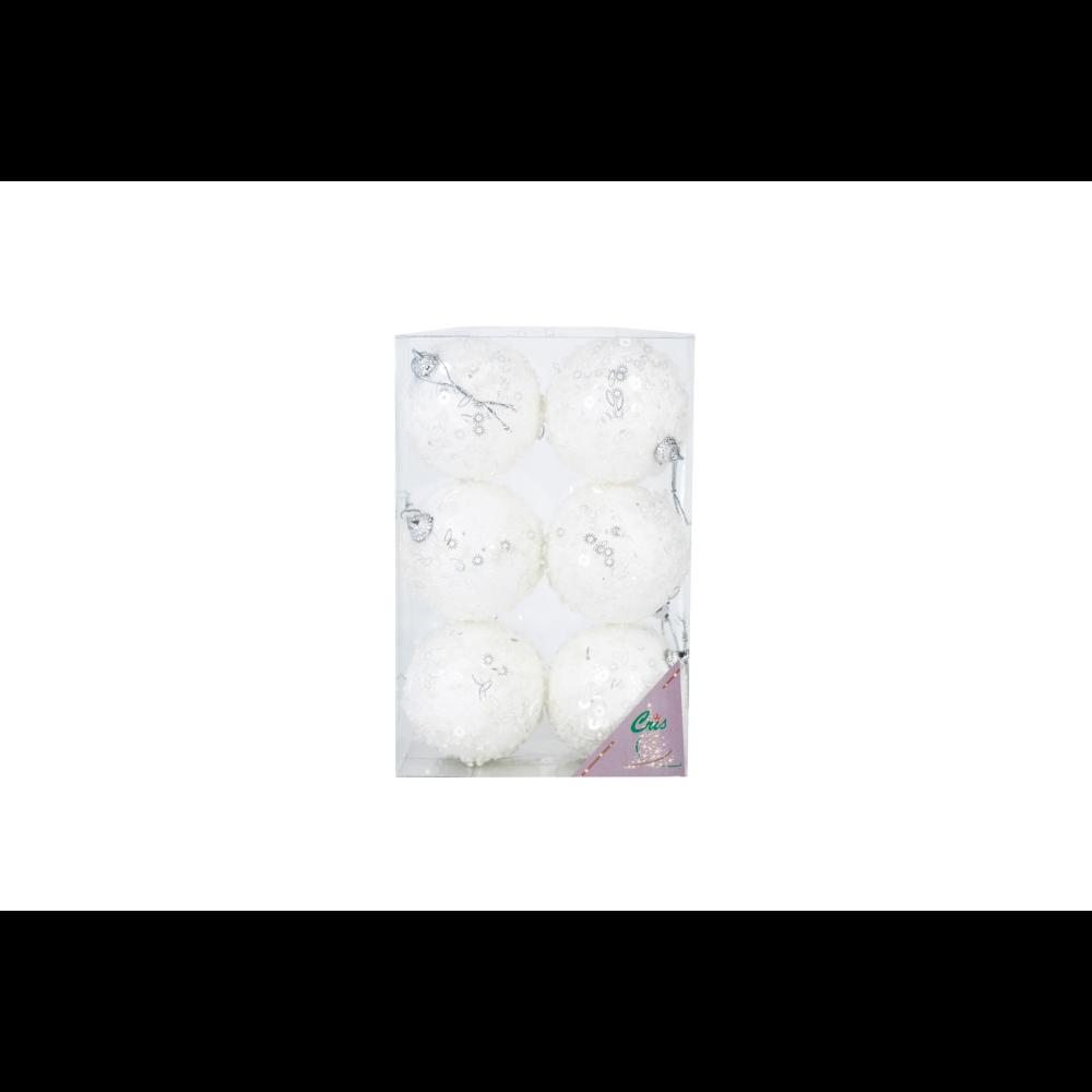 Set 6 globuri decorative de Craciun Cris, polistiren, 7 cm