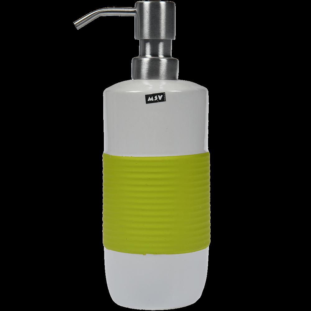 Dozator sapun lichid Romtatay Moorea, ceramica, alb-verde, 20,5 x 7,5 cm