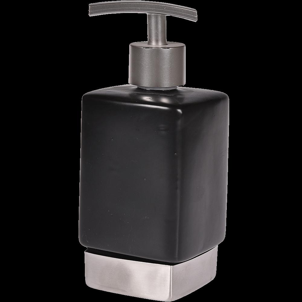 Dozator sapun lichid RomTatay Nhale, ceramica, negru-gri, 17 x 6,5 cm
