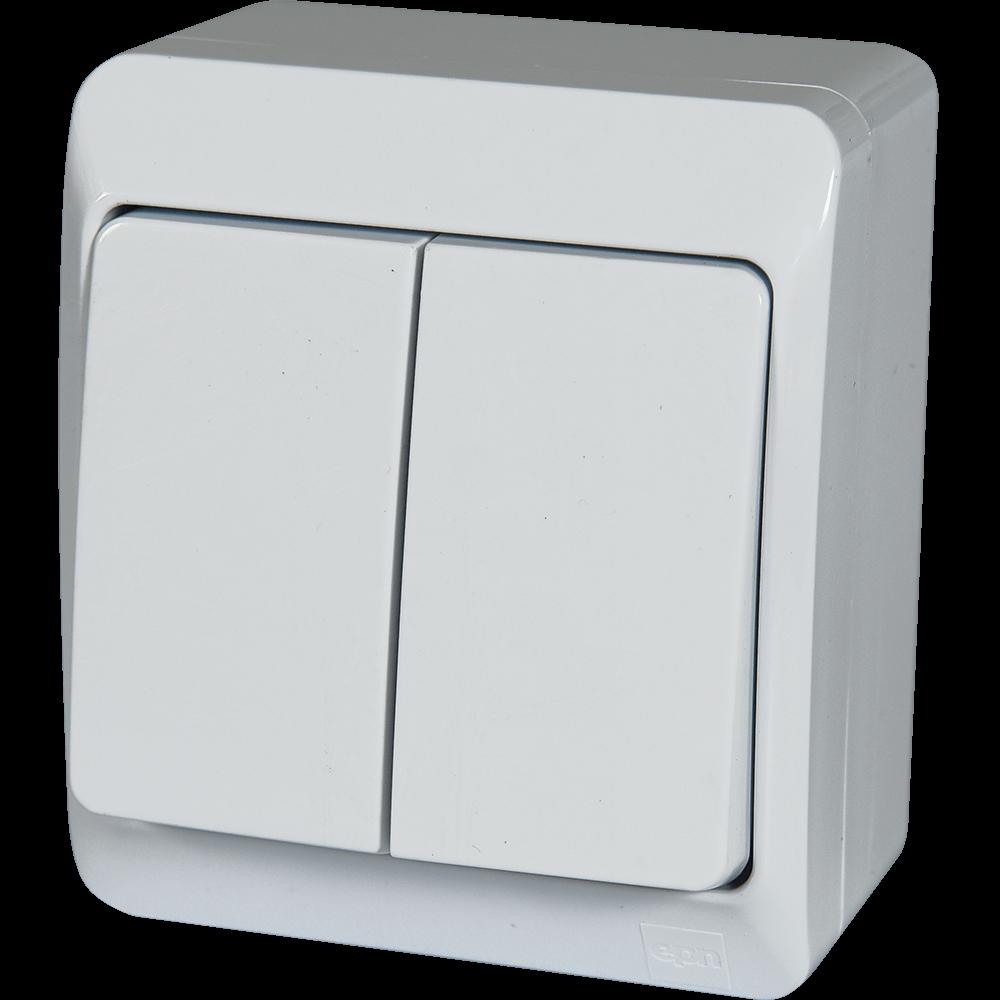 Intrerupator electric dublu Hermes, IP44, alb