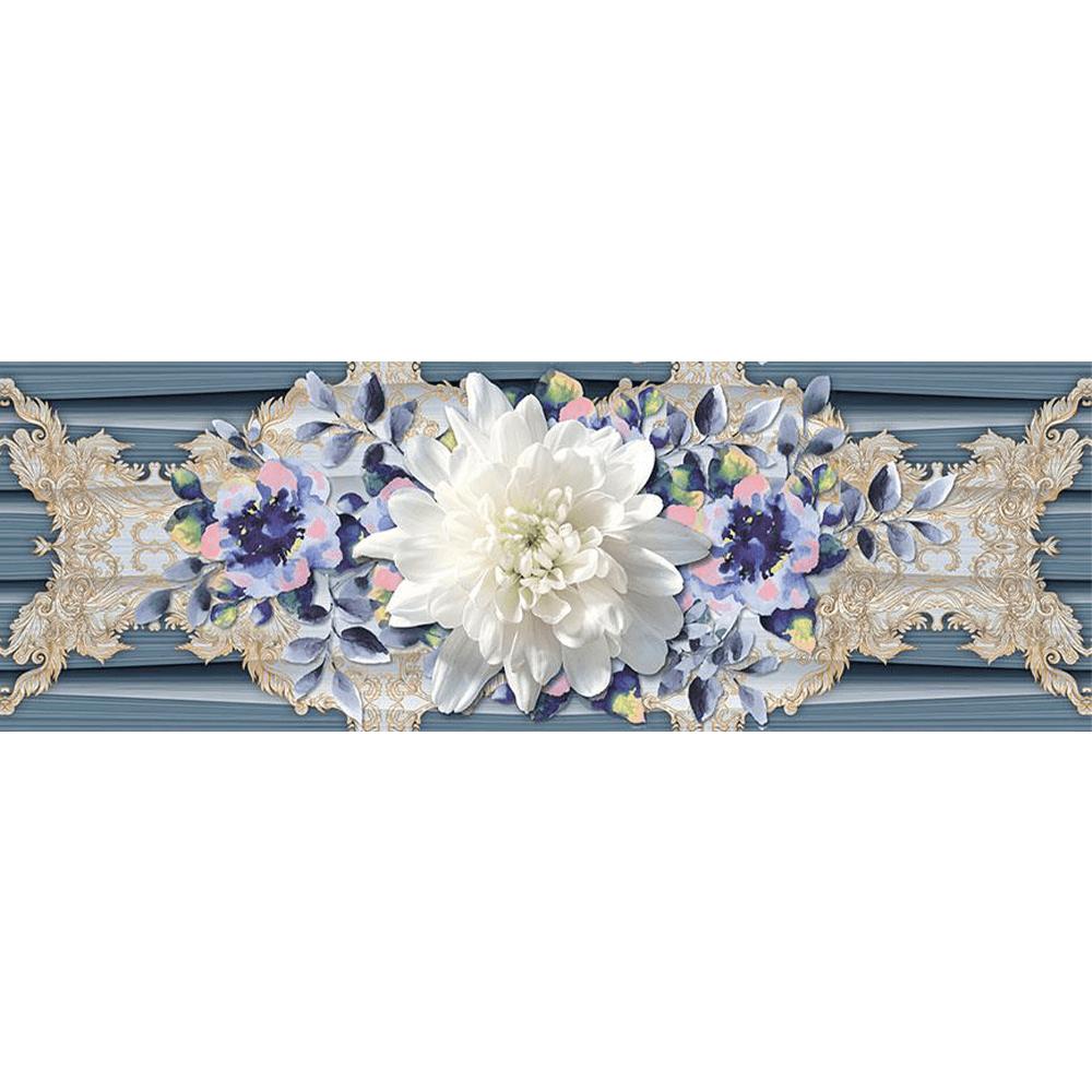 Faianta Baleno Aqua HL albastru, model floral, rectificata, lucioasa, 25 x 75 cm imagine MatHaus.ro