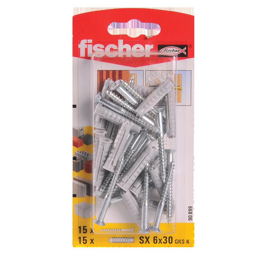 Diblu din nailon cu surub, Fischer SX, 6 x 30 mm, 4,5 x 40 mm, 15 buc imagine MatHaus