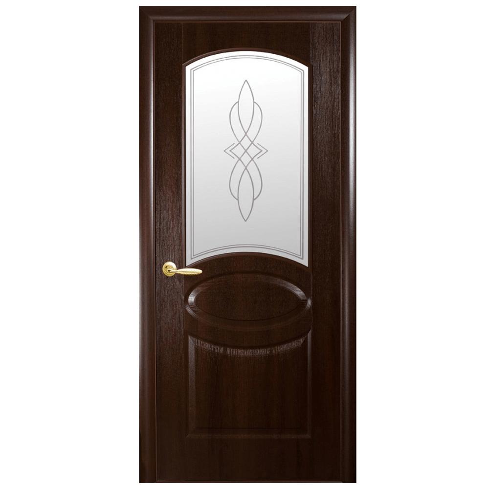Usa interior cu geam New Style Fortis Oval Castan castaniu, 200 x 60 x 3,4 cm imagine MatHaus
