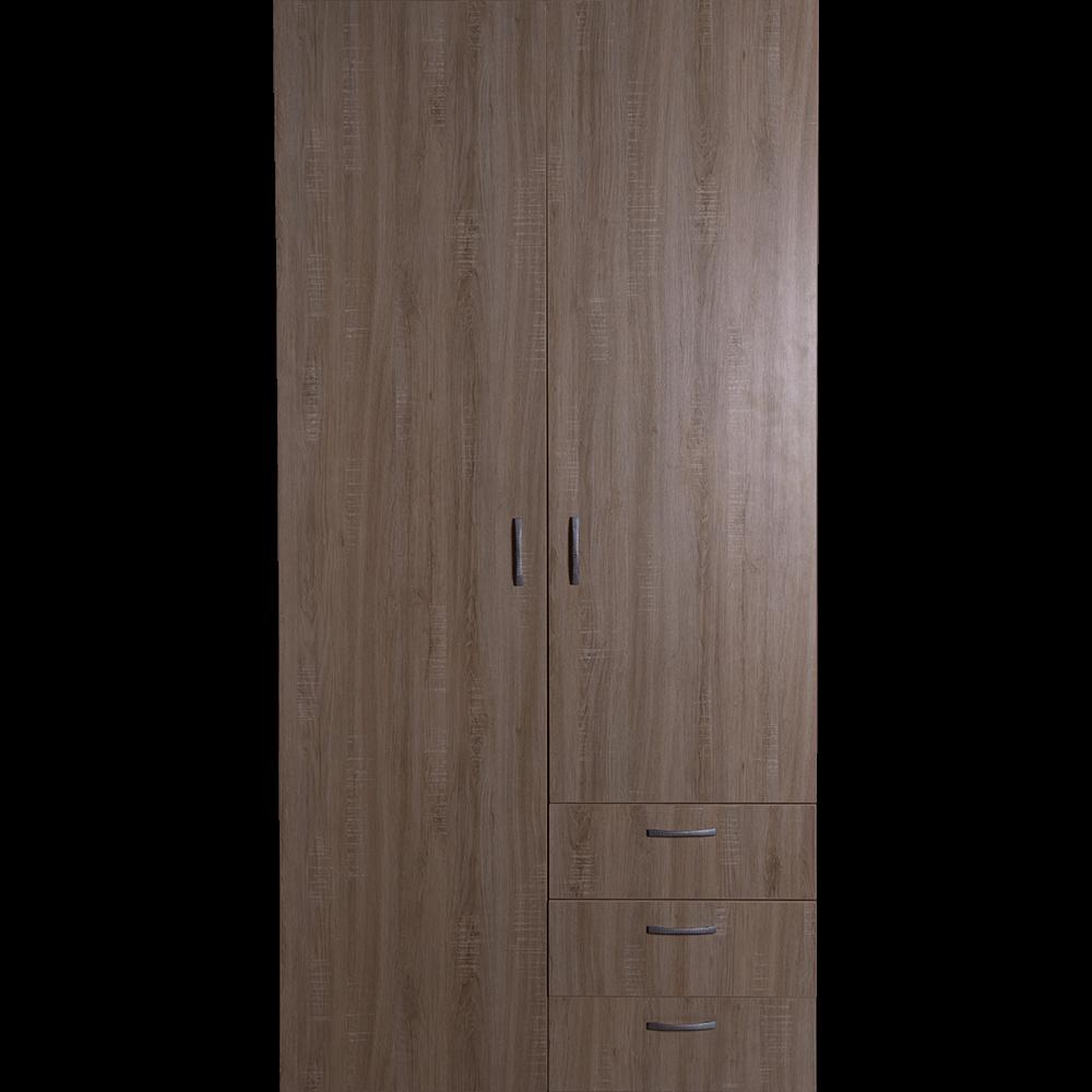 Dulap pentru organizarea si depozitarea hainelor, sonoma, 3 rafturi, 3 sertare, 100 x 60 x 202 cm
