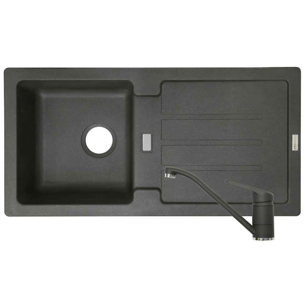 Pachet chiuveta Fragran, cuva stanga 614 - 86 + baterie Grafite, negru, 860 x 435 mm imagine 2021 mathaus